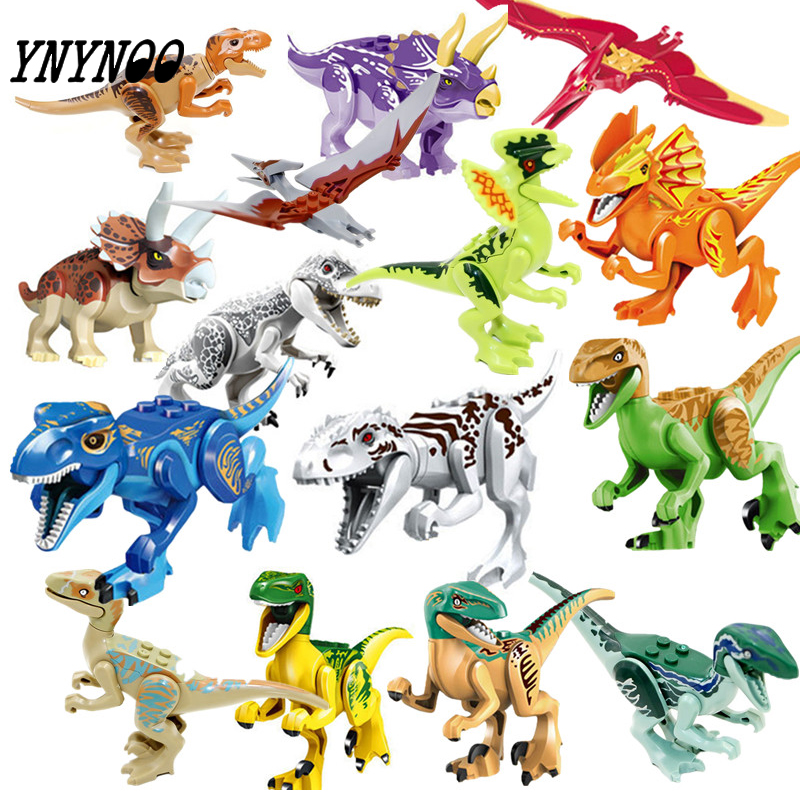 (YNYNOO) 16 stücke Bausteine Avengers Welt Park Dino Jurassic Welt Dinosaurier Legoinglys Spielzeug Modell Bricks Weihnachten Geschenk Spielzeug