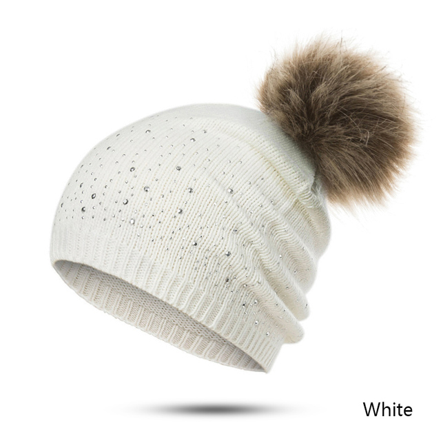 URDIAMOND Winter Hat Women Cute Hot Selling Casual Solid Drilling ball Cap Warm Faux Fur Pom Pom Ball Girl 's Hat