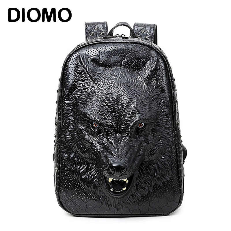 4582a5233f DIOMO stylish backpacks 3D wolf head backpack special cool shoulder bags  for teenage girls PU leather