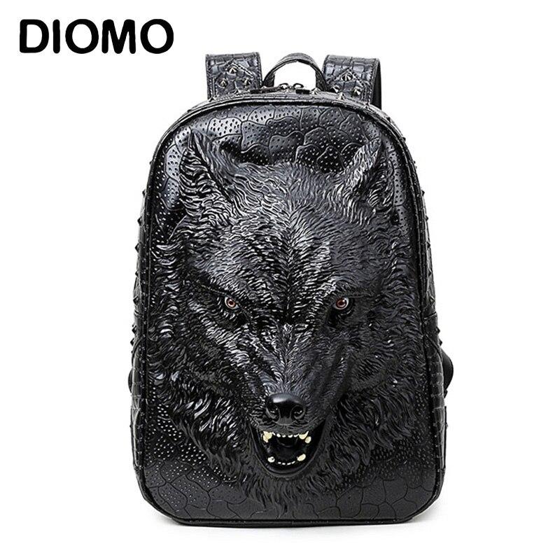 DIOMO élégant sacs à dos 3D tête de loup sac à dos spécial cool sacs à bandoulière pour adolescentes PU cuir sacoche pour ordinateurs portable