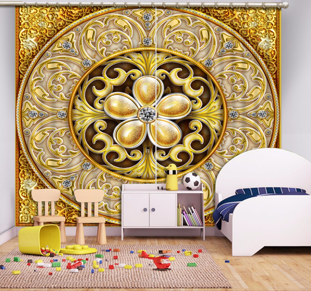 3D Curtain Fashion Customized Gold Pattern Diamond Curtains For Bedroom New Custom 3D Beautiful Blackout Shade Window 3D Curtain