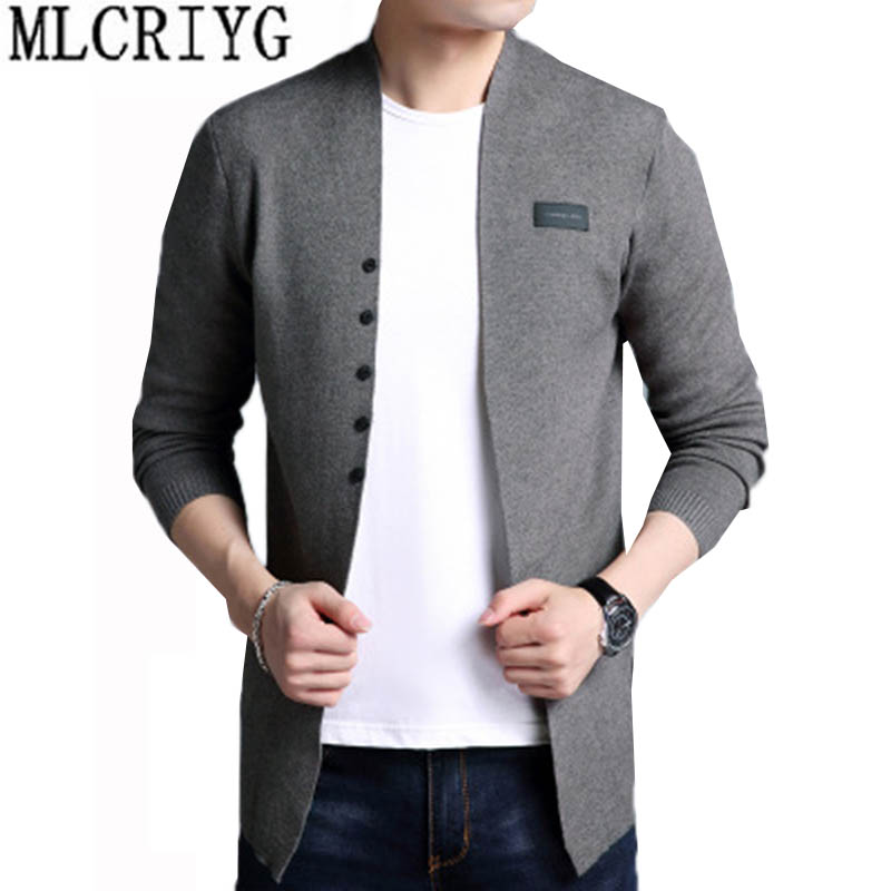 Plus Size 3XL 2018 autumn mens knitted cardigan sweaters V neck Long Sleeve jumper cardi ...