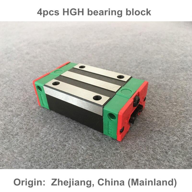 Free shipping 4pcs HGH15/20/25/30CA linear guide blocks for linear Rails cnc parts linear guide rails hgh hgl egh15 20 25 30 35 sa ha ca