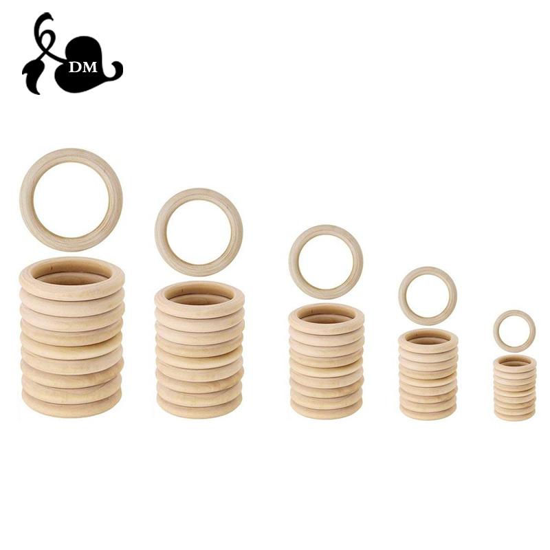 50pcs 25mm/30mm/40mm Wooden Baby Teething Rings Infant Teether Toy DIY Accessories For 3-12 Month Infants Tooth Care Products