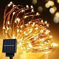 La Energía Solar Luz de la Secuencia Impermeable de la Tira LED 10 m 120 Alambre de Cobre LLEVÓ la lámpara Caliente Blanco Para la decoración de Navidad Al Aire Libre luces