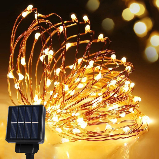 solar power string light waterproof led strip 10m 120 led copper wire lamp warm white for