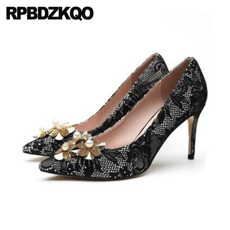 Size 4 34 Women Flower Crystal Pumps High Heels Mesh Lace Black Party Shoes Red Scarpin Metal 2018 Pearl 33 Pointed Toe 3 Inch