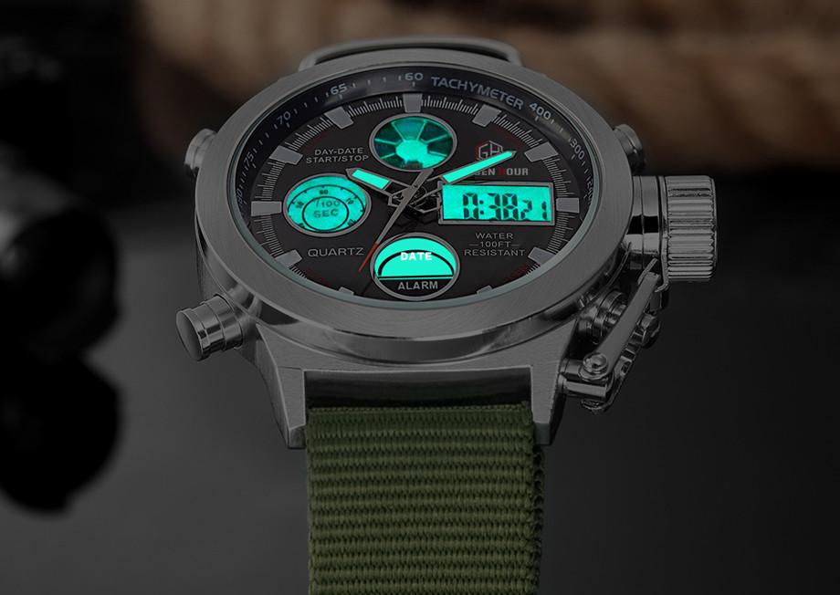 HTB1KW.rNXXXXXaoXFXXq6xXFXXXR - GOLDENHOUR Nylon Strap Sport Watch for Men