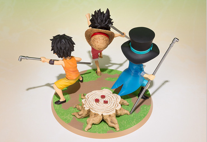 2017 Kawaii F.zero Anime One Piece 9cm 3pcs/set  Luffy & Ace & Sabo 3 brother Action Figure Toys Dolls