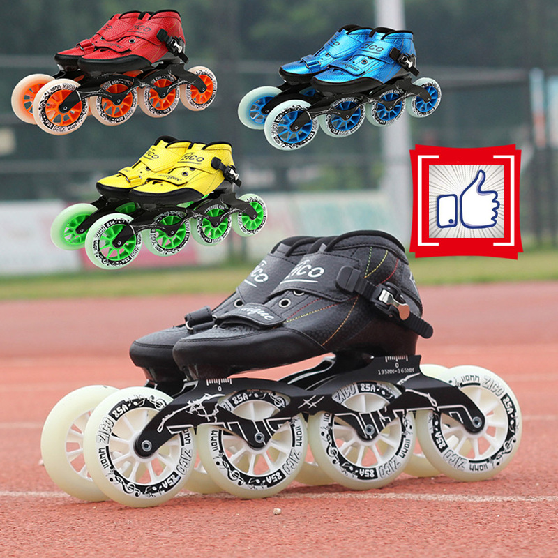 Hot Sale! Carbon Fiber Inline Speed Skates Shoes Racing Street Outdoor Sports KR JP Yellow Red Black Frame 90-110mm Wheel 30-45 76mm 95a outdoor roller skates brake pulley wheel green black yellow