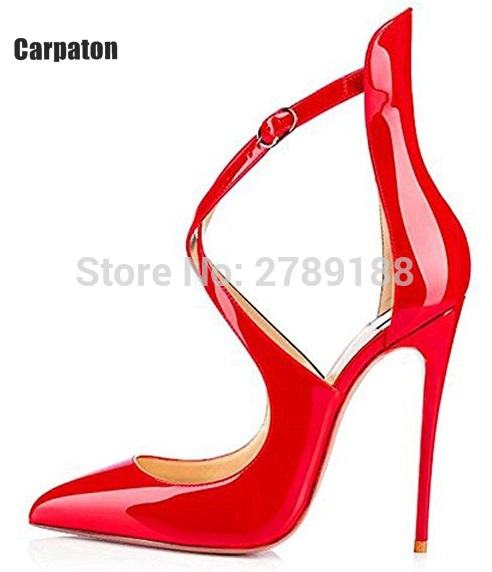 Фото Women Fashion Patent Pointed Toe Buckle Strap Stiletto Shoes Sexy Cross Strap Red High Heels Pumps Wedding Dress Shoes Plus Size