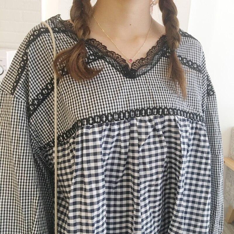 top bluze i majice čipkast v-vrat rukav puhasti A-line slatka - Ženska odjeća - Foto 6