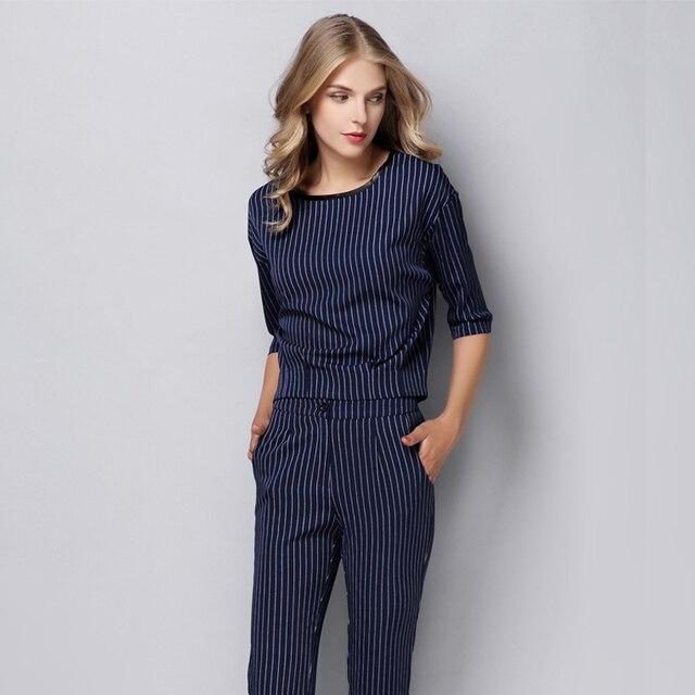 Women Business Suits Formal Office Suits Work  Ladies Elegant Pant Suits 2 Piece Set Woman Stripe Tops Pencil Trousers