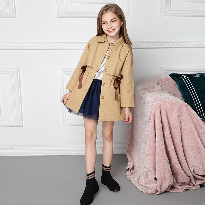 Girls' windbreaker spring and autumn 2018 new Korean version children's mid autumn wear girl's suit. недорго, оригинальная цена