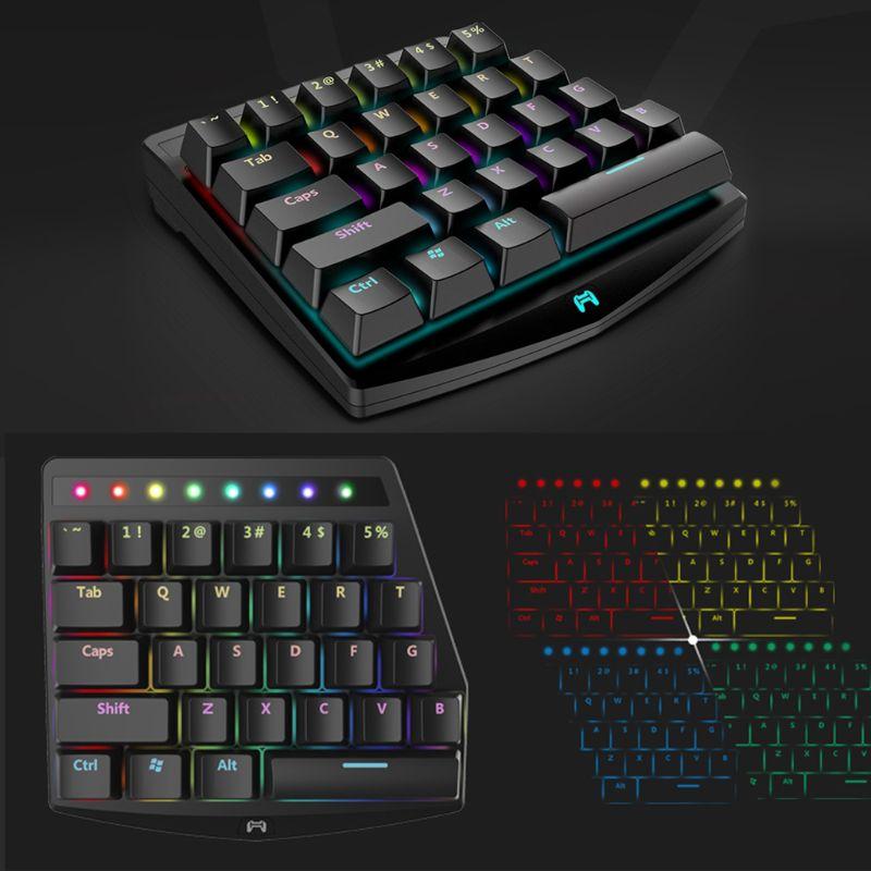 RGB Gaming mechanical keyboard K1 27 Key Gaming Keyboard Bluetooth RGB Single Hand Mechanical Keyboard for