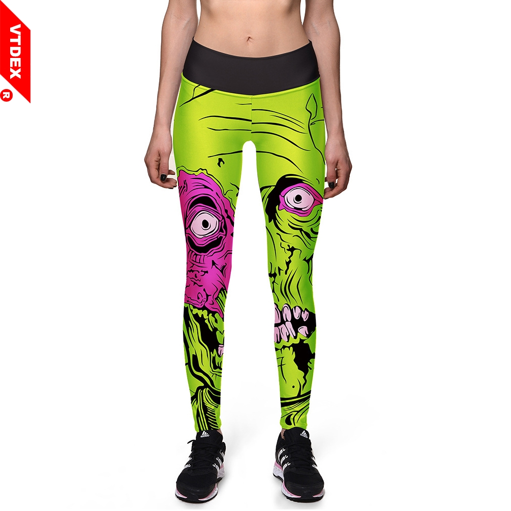 b5cd9577c72070 VTDEX 2018 Women Yoga Pants Cyberpunk Cartoon Pattern Fitness Leggings  Digital Print Breathable Skinny Sports Running