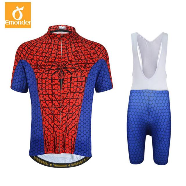 Customize Team Cycling Jersey Set Short Sleeve Bib Shorts Captain America  Spiderman Superman Iron Cycling Clothing Ropa Ciclismo 86382dfe8