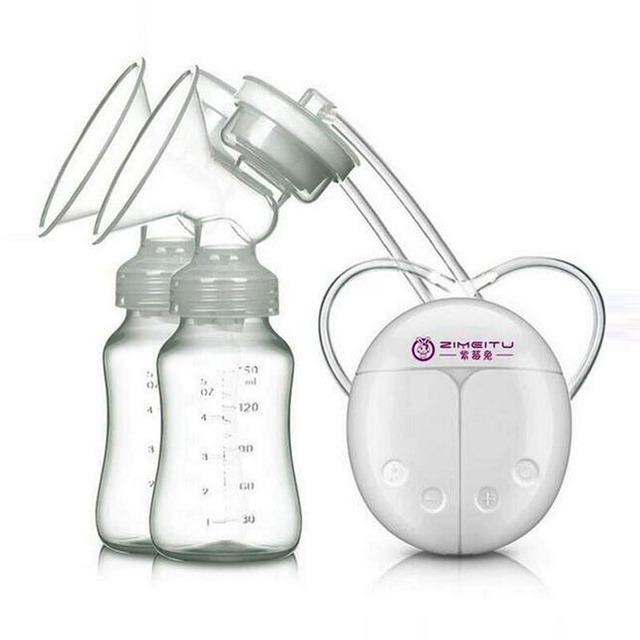 2017 Doble sacaleches Eléctrico Potente Succión Del Pezón USB Eléctrica Extractor de leche con la botella de leche del bebé Almohadilla de Calor y Frío Nippl