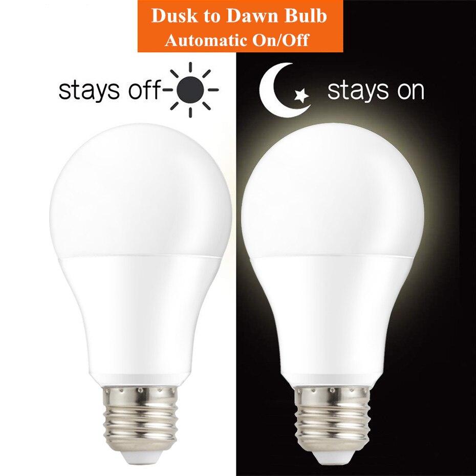 IP44 LED Sensor Light Bulb E27 B22 10W 15W  Dusk To Dawn Light Bulbs AC 220V Day Night Light Lamp For Home Lighting