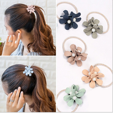Girls Sweety Flower Pearl Rubber Bands Womens Three Floral Scrunchy Elastic Hair Rings Ropes Accessories