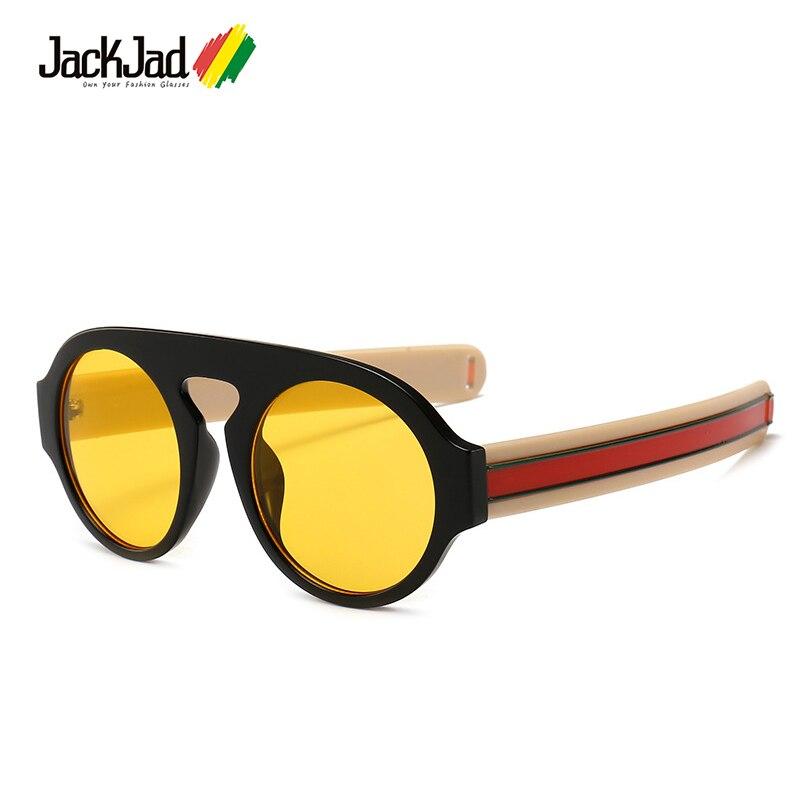 Солнцезащитные очки JackJad мужские с толстыми полосками, модные стильные винтажные брендовые дизайнерские солнечные очки квадратной и кругл...