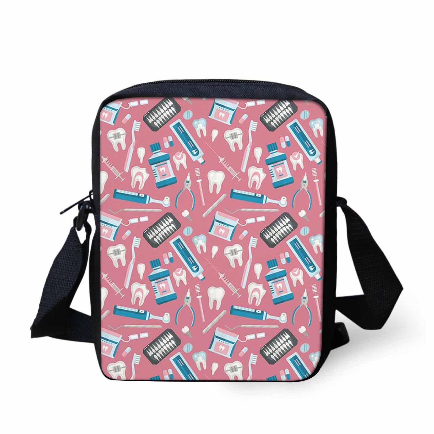Doctor Womens Handbag Pink Cartoon Printing Cross Body Bag For Kids Boys Girls Cute Travel Summer Children Handbag
