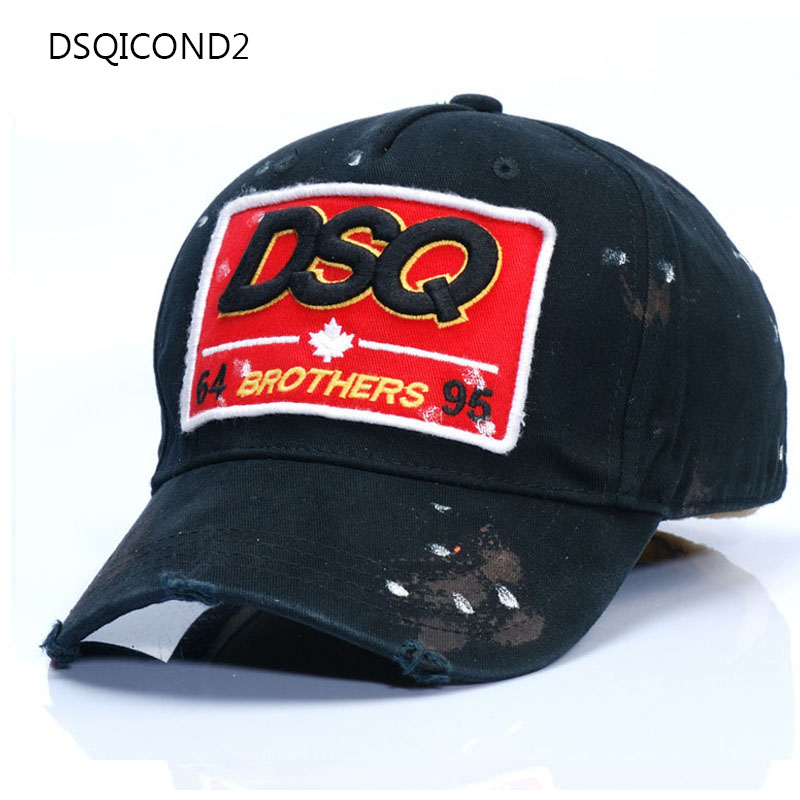 Men's Baseball Cap DSQ Euramerican Tide Brand Cotton Women Street Tide Cap Outdoor Hats Casual Hat Unisex Adjustable Black Caps trendy cotton fedora hat cap black