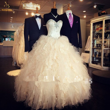Bealegantom New 2019 Champagne Quinceanera Dresses Ball Gown Crystals Lace Up Vestido De Debutante Sweet 16 Party Dress QA1475