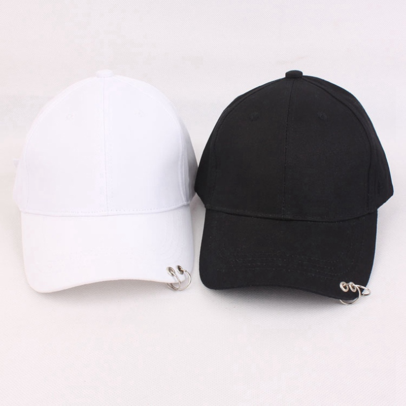 1pc Korean Version Of Black Baseball Cap Outdoor Travel Cap Sports Cap With Rings Hat Grade Products According To Quality