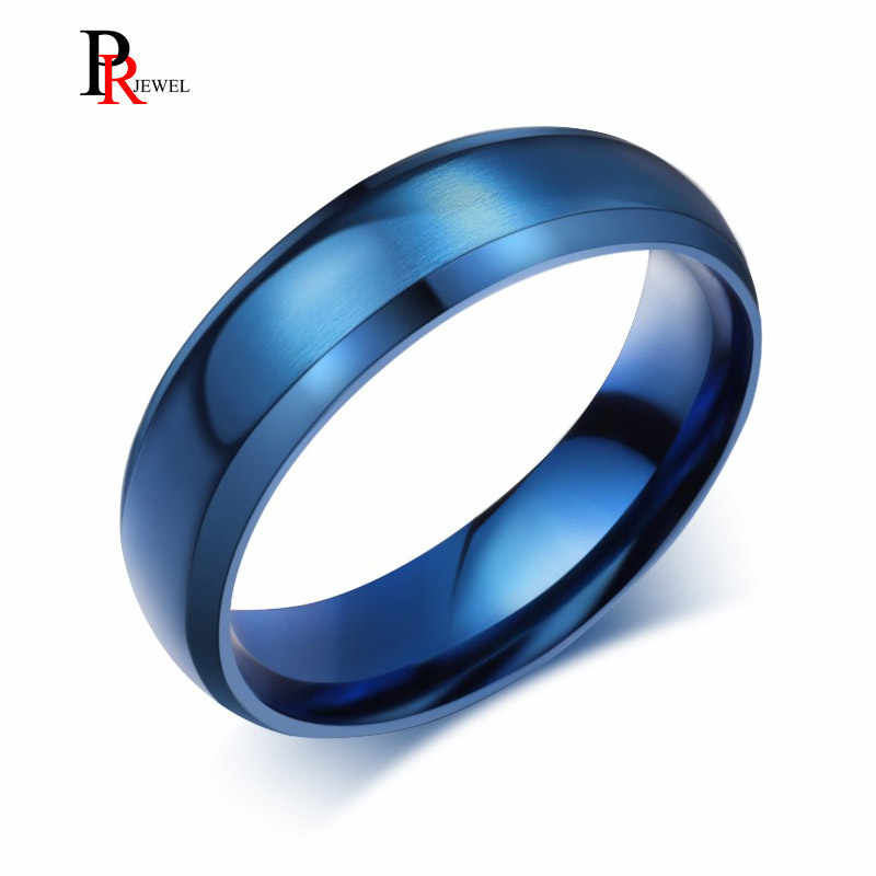 Classic Blue Ring Men Jewelry Stainless Steel Wedding Party Gift