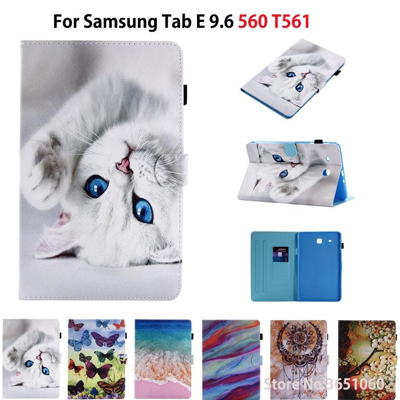 For Samsung Galaxy Tab E 9.6 Case For Samsung Galaxy Tab E T560 SM-T560 T561 Cover Cases Funda Cartoon Cat Stand Shell Capa