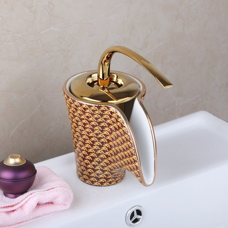 Gold Waterfall Faucet  Ceramic Finish Bathroom Basin Sink Faucet Hot & Cold Mixer Deck Mounted Tap free shipping polished chrome finish new wall mounted waterfall bathroom bathtub handheld shower tap mixer faucet yt 5333