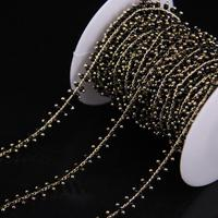 5Meter Lot Black Cube Beads Link Brass Wire Wrapped Chain Glass Cube Beads Rosary Chain Fashion