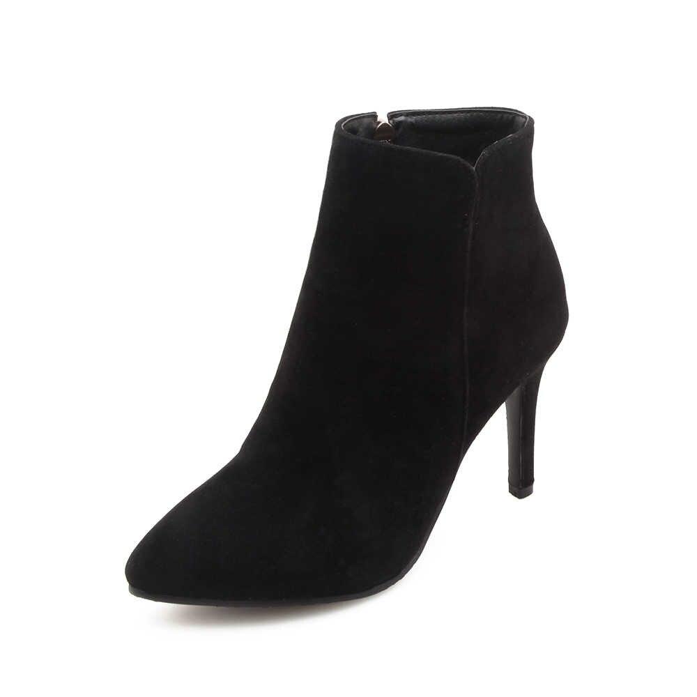 Otoño Invierno nueva moda mujer botas tacones altos mujeres gamuza tobillo botas Sexy punta puntiaguda Metal Martin botas talla grande 34-47