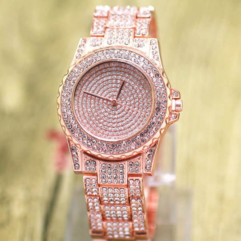 Ladies Fashion Quartz Watch Women Rhinestone Casual Dress full steel Women's Watches Rose Gold Crystal reloje mujer montre femme deepshell full crystal diamond women stainless steel bracelet quartz gold watch female ladies dress wrist watches montre femme