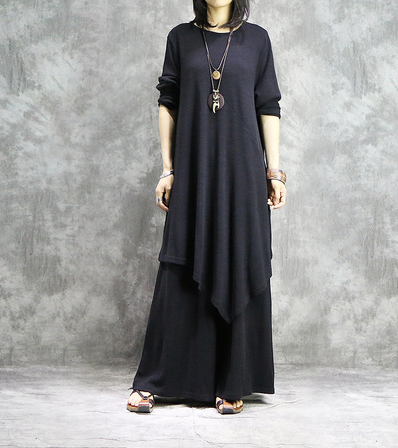Women Solid Elegant Loose Knitted Long Tops Elastic Waist Wide Leg Pants Female Irreguar Shirt Wide