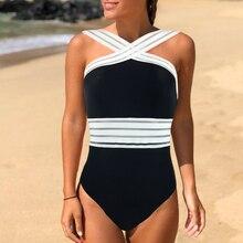 Купить с кэшбэком 2019 Sexy Swimwear Women Swimsuit One Piece Bodysuit Cross Monokini Push Up Bathing Suit Swim Wear Beach Maillot De Bain Female