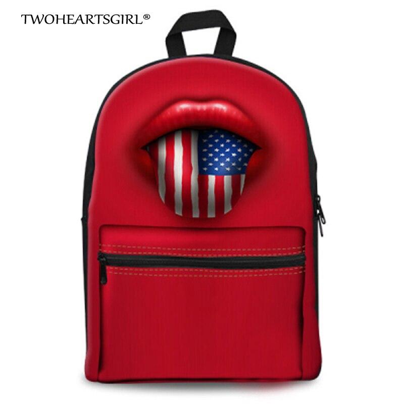 TWOHEARTSGIRL Red Lips with National Flag Printing Backpack Women School Back Pack for Teenage Girls Boys Cute Backpacks mochila