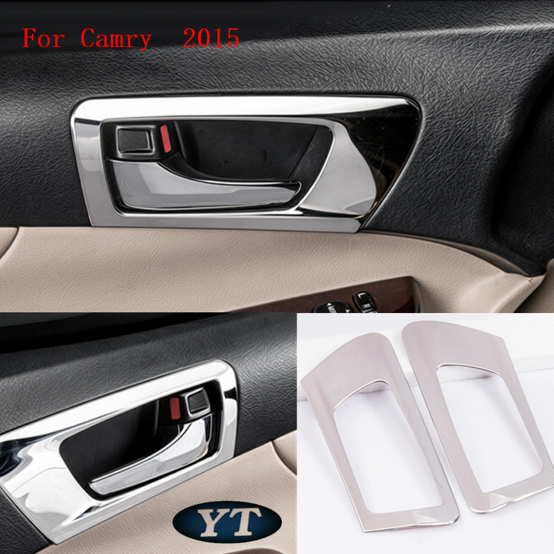 Toyota Camry 2012-2016 년을위한 자동 문 안 사발 스티커 내부 조형, 4pcs / lot의 차 부속품