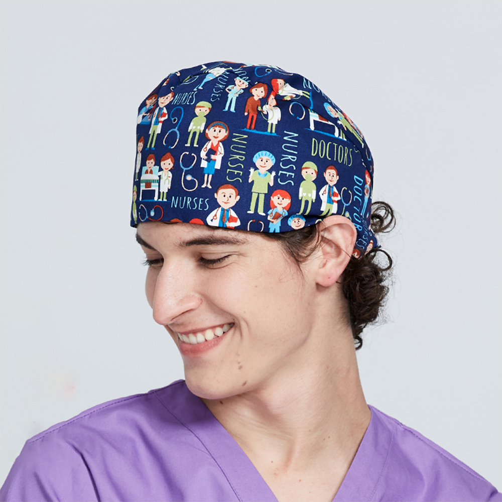 Men Tooth Pattern Surgical Cap Men Dentist Medical Scrub Caps Hospital OR Working Hats 100% Cotton Sweatband Dental Nurse Hat