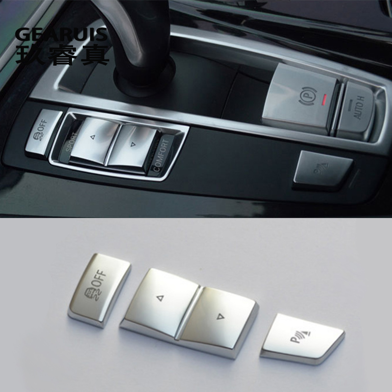 Car Styling Central Handbrake Auto H Buttons Left side Covers Stickers for BMW 5/6/7 series f10 GT F07 F02 Interior Accessories image