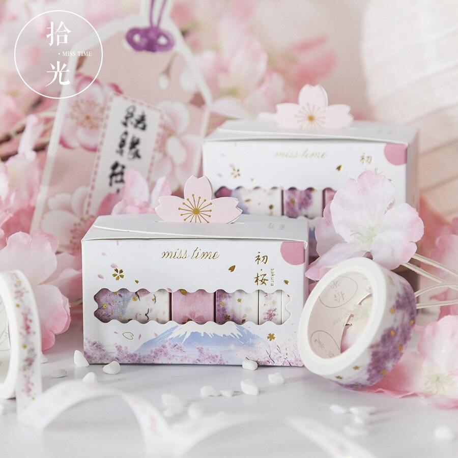 5 Pcs/lot Cherry Blossoms Gilding Bullet Journal Washi Tape Set Adhesive Tape DIY Scrapbooking Sticker Label Craft Masking Tape