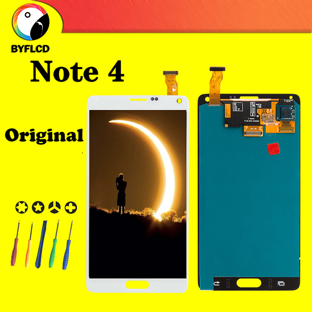 Original AMOLED Lcd For Samsung Note 4 N910 N910F N910A Display For Samsung Galaxy Note 4 Screen Touch Display Assembly replace