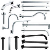 Chrome or Matte Black Wall Mounted Shower Arm Bathroom Shower Head Bracket Bar G1/2 Shower Head Fixed Pipe Shower Head Holder