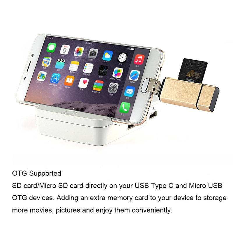 Image 4 - 3 In 1 MicroSD SD TF USB2.0 MicroUSB Type C OTG Universal Memory Card Reader Design for Ipad  Android Phone PC Macbook-in Card Readers from Computer & Office