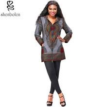2017 الأفريقية طباعة معطف المرأة طويلة الأكمام الأزياء الأفريقية طباعة قصيرة عارضة سترة اليوسفي طوق الخريف معطف للسيدات