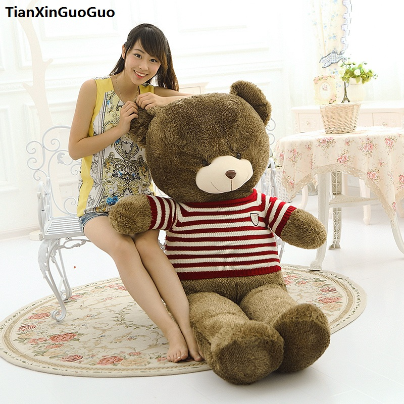 цены stuffed toy huge 160cm brown teddy bear plush toy red stripes sweater bear soft doll hugging pillow birthday gift s0922