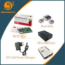 Wholesale prices UK RS Version Raspberry pi 3 +3pcs Aluminum Heat sink+Raspberry pi 3 ABS Case Box+5V2.5A power charger plug for Raspberry pi 3 B