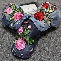 Newly Rose Embroideried Men Women Baseball Cap Spring Summer Sun Hat With Diamond Snapback Cap Sports