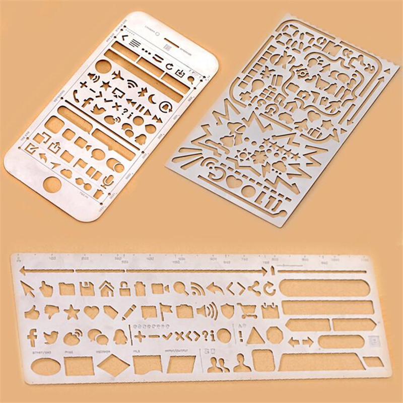 2pcs /lot  Creative Portable Hollow Out Stainless Steel Stencils Ruler For Travel Diary Notebook /filofax Template 3 Patterns